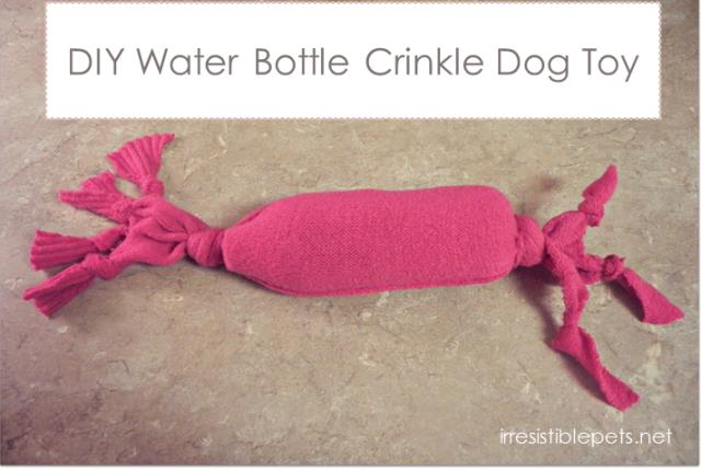 DIY Water bottle crinkle dog toy, diy dog toy, dog toy diy, DIY Dog Projects