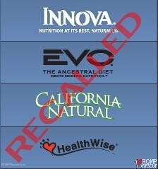 Pet Food Recall, Procter Gable Natura Pet Recall Innova Evo California Natrural Healthwise